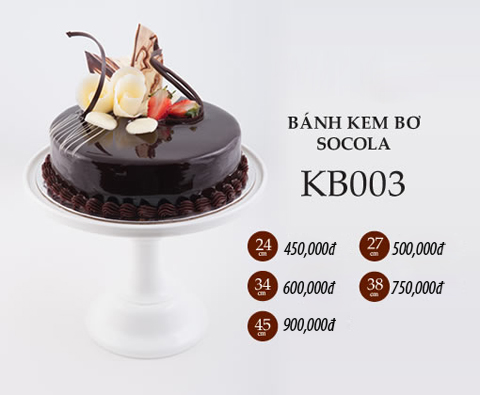 Bánh sinh nhật kem bơ socola kb003
