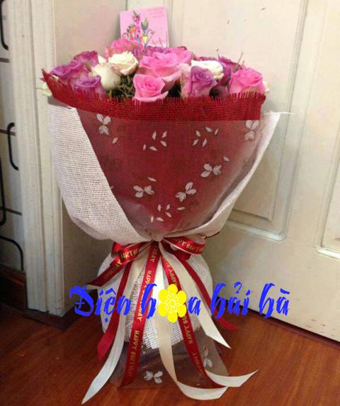 Bó hoa hồng sen, hồng trắng và hồng tím