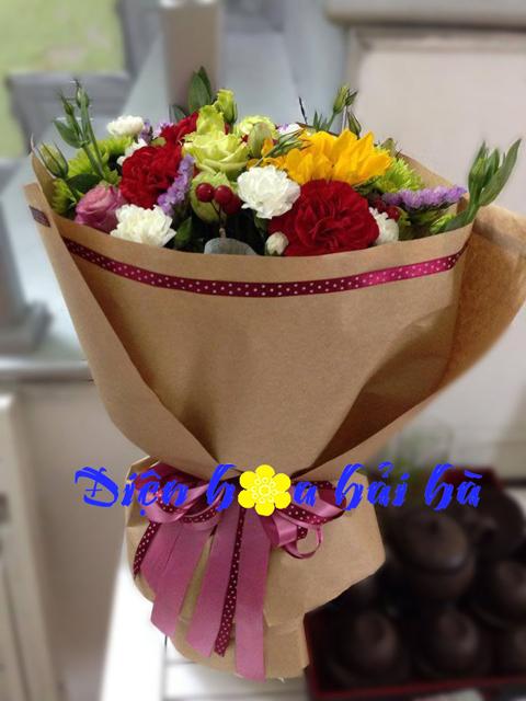 Bó hoa hướng dương và hoa cẩm chướng