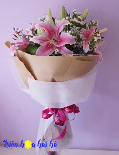 Mẫu bó hoa ly hồng đẹp