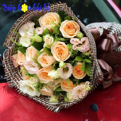 Bó hoa hồng kem đẹp
