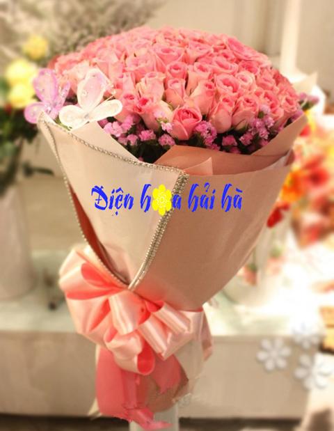 Bó hoa hồng sen đẹp