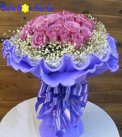 Bó hoa hồng tím đẹp