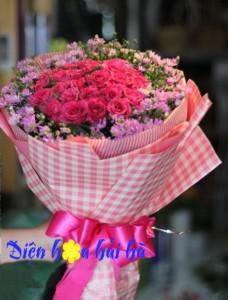 bó hoa hồng thạch thảo