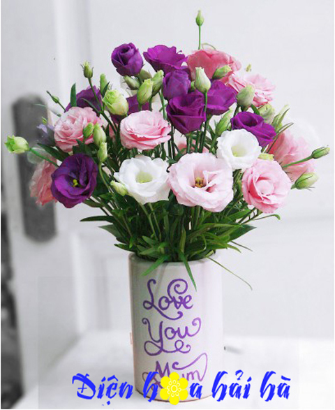 Bình hoa cát tường tím đẹp