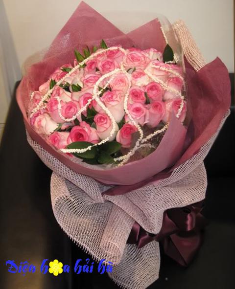 Bó hoa hồng song hỷ đẹp