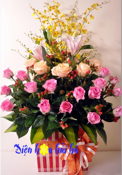 Giỏ hoa hồng sen đẹp