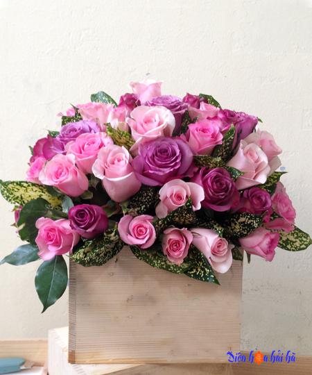 Hộp hoa hồng tím và hoa hồng sen