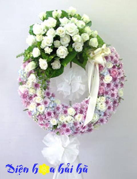 Vòng hoa chia buồn hoa cúc hồng trắng