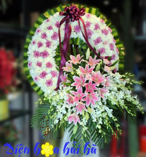 Mẫu kệ hoa đám tang hoa lan trắng ly hồng