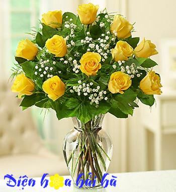 Bình hoa hồng vàng  Điện hoa Hải Hà