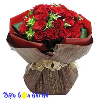 Bó hồng đỏ phong cách Hoa đẹp