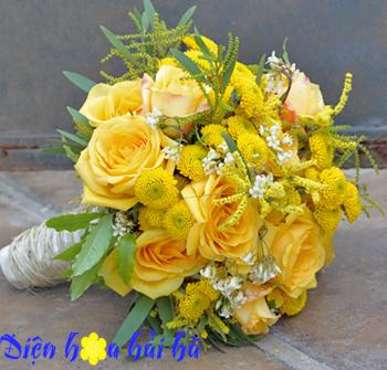 Bó hoa cưới bằng hoa hồng vàng Điện hoa Hải Hà