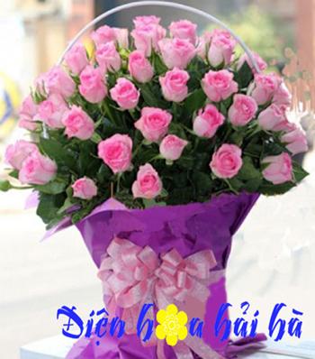 Giỏ hoa hồng sen tặng ngày của mẹ
