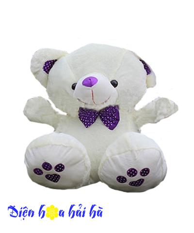 Gấu bông nơ tím
