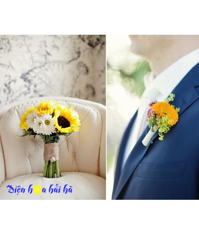 Hoa cưới tông vàng