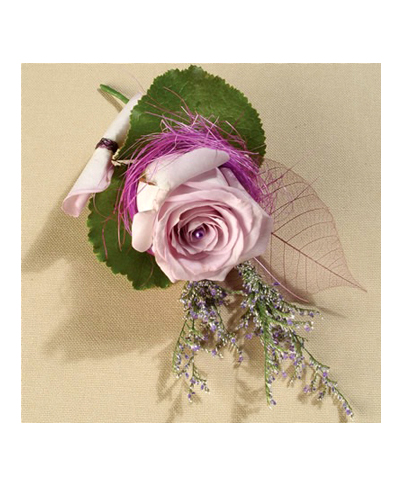 Hoa chú rể bằng hoa hồng tím