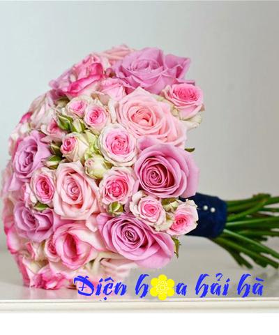 Bó hoa cưới mầu tím hồng