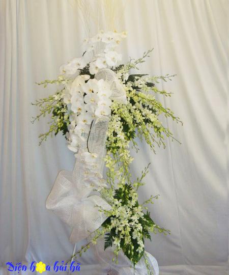 Lẵng hoa lan trắng đẹp