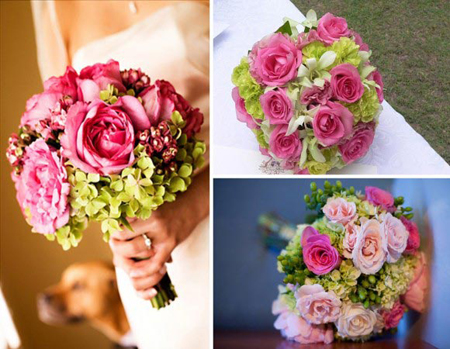Bó hoa cưới bằng hoa cẩm tú cầu kết hợp nhiều loại hoa