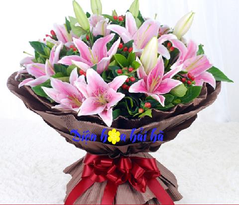 Bó hoa hoa tặng ngày nhà giáo Việt Nam hoa ly hồng