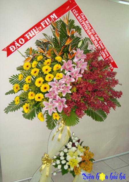 Điện hoa chúc mừng bằng hoa lan ly đồng tiền