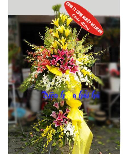 Lẵng hoa mừng khai trương bằng hoa lan hoa ly