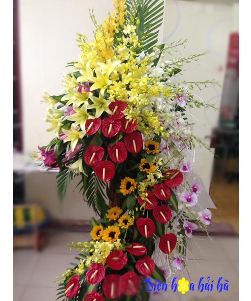 Lẵng hoa chúc mừng khai trương bằng hoa tươi