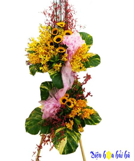 Lẵng hoa mừng khai trương lan vàng hướng dương
