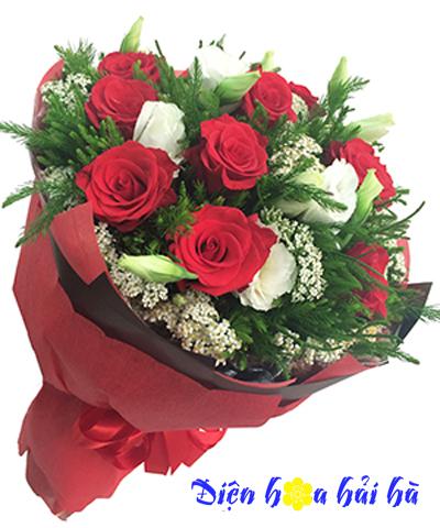 Bó hoa chúc mừng hồng đỏ lan tường