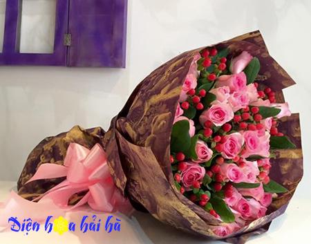 Bó hoa hồng sen mắt ngọc