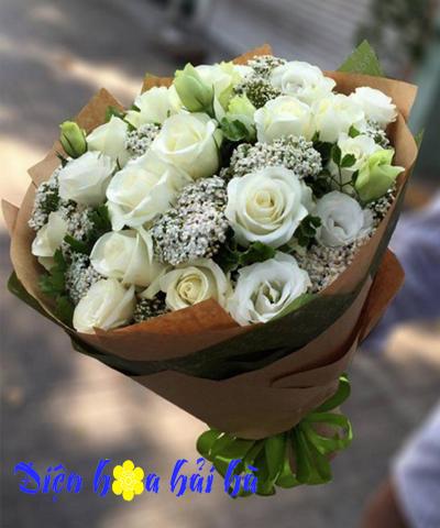 Bó hoa hồng trắng mimi