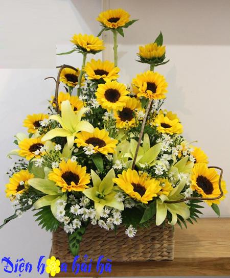 Giỏ hoa hương dương hoa lily vàng