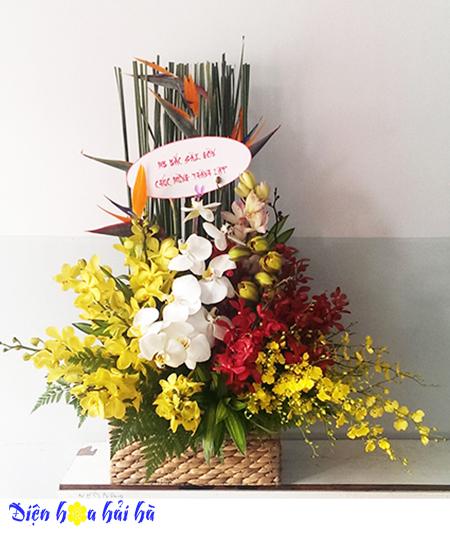 Giỏ hoa thiên điểu hoa lan