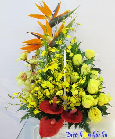 Giỏ hoa thiên điểu và hoa lan vũ nữ