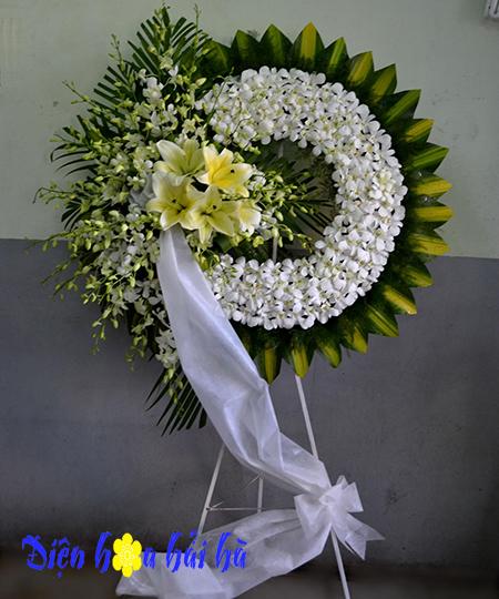 Bán vòng hoa tang lễ hoa lan trắng