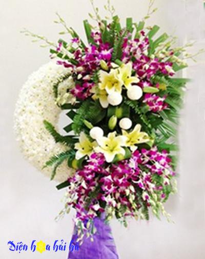 Vòng hoa tang lễ cúc trắng lan tím