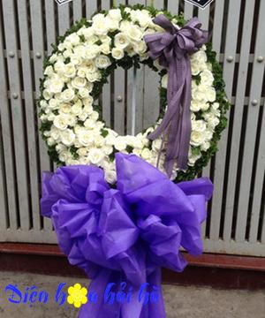 Vòng hoa tang lễ hoa hồng trắng