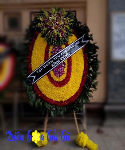 Vòng hoa tang lễ hình ovan đại