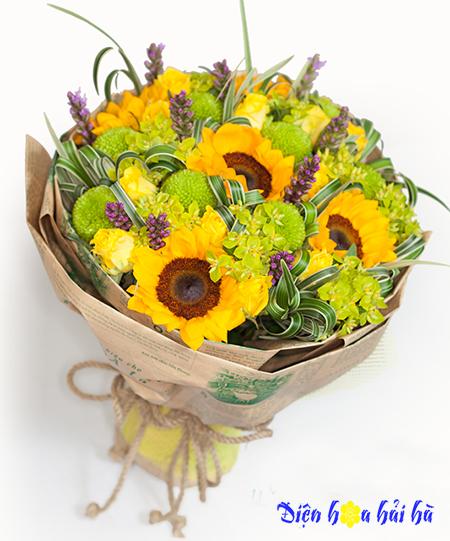 Bó hoa hướng dương cúc xanh