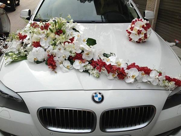 Mẫu trang trí xe hoa cô dâu hồ điệp lan đỏ