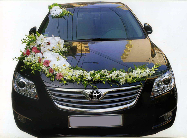 Trang trí xe hoa cưới đẹp hoa hồ điệp