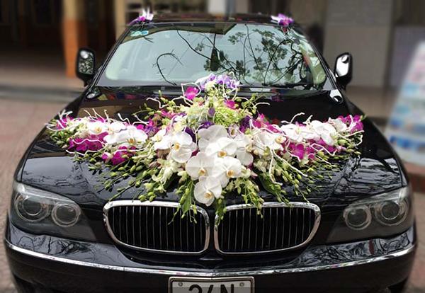 Trang trí hoa xe cưới lan hồ điệp trắng tím