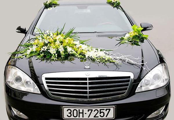 Trang trí xe hoa đám cưới hoa lan trắng và địa lan