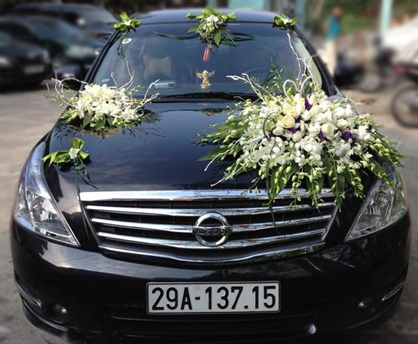 Xe hoa ngày cưới lan trắng hồng trắng
