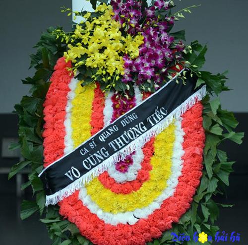 Đặt điện hoa tang lễ vòng hoa ovan chùm lan tím vàng