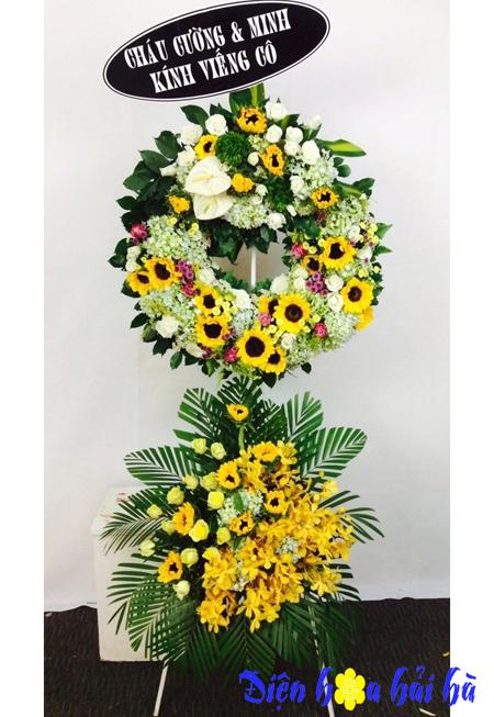 Vòng hoa tang lễ hai tầng hướng dương