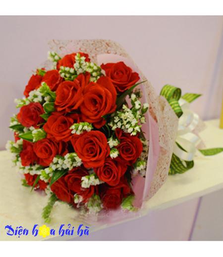 Bó hoa chúc mừng hồng đỏ salem trắng