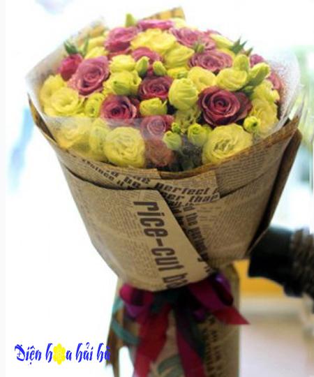 Bó hoa tặng 20/10 hồng tím cát tường xanh