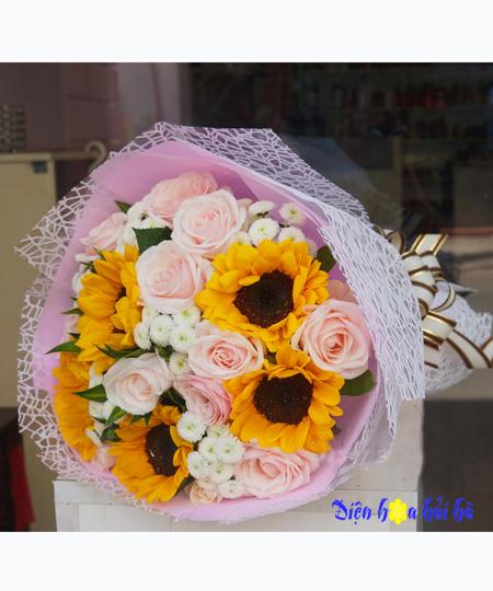 Bó hoa 20/10 tặng vợ hoa hướng dương hồng kem